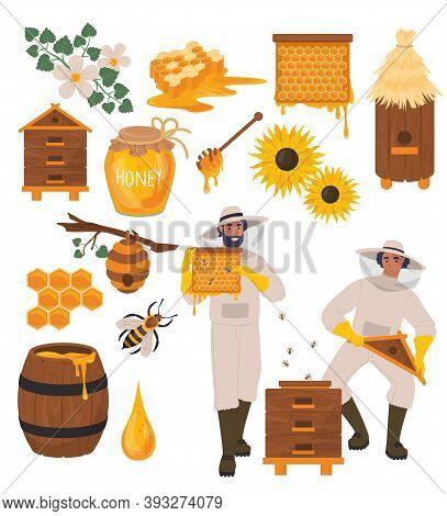 Beekeeping Set, Flat Vector Illustration. Healthy Natural Food. Beekeeping Farm.