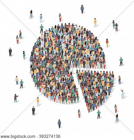 Large Group Of People Forming Pie Chart, Flat Vector Illustration. Statistics, Population Demographi