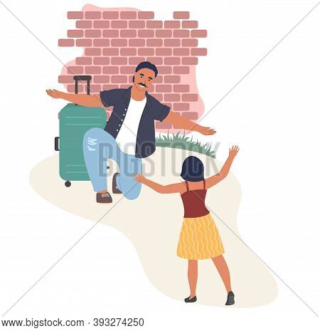 Happy Couple Greeting Each Other With Open Arms, Flat Vector Illustration. Homecoming.
