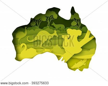 Mainland Australia Map With Wildlife, Vector Illustration In Paper Art Style.