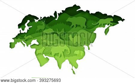 Mainland Eurasia Map With Wildlife, Vector Illustration In Paper Art Style.
