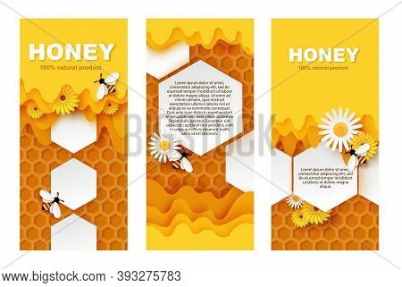 Honey Banner Vector Template Set. Paper Cut Honeycombs With Flowing Sweet Honey, Cute Bees Collectin