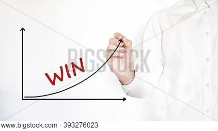 Young Businessman Drawing Win Diagram Concept. Isolated On White.