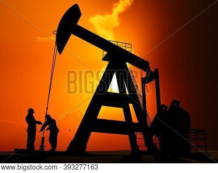 Worker produce oil . 3d render