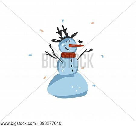 Hand Drawn Vector Abstract Fun Stock Flat Merry Christmas, And Happy New Year Time Cartoon Festive C