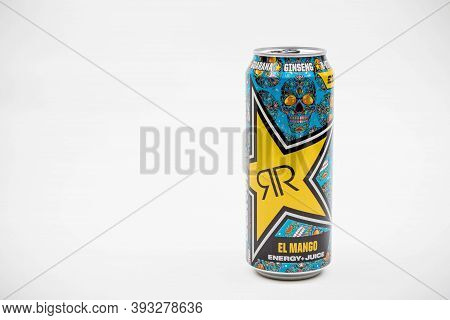 London, United Kingdom, 14th October 2020:- A Can Of Rockstar El Mango Energy Drink Isolated On A Wh