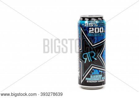 London, United Kingdom, 14th October 2020:- A Can Of Rockstar Blueberry Pomegranate Energy Drink Iso