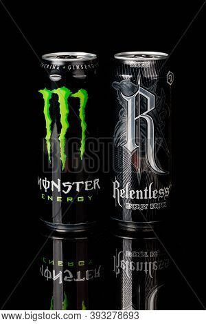 London, United Kingdom, 14th October 2020:- Cans Of Monster &  Relentless Energy Drinks Isolated On