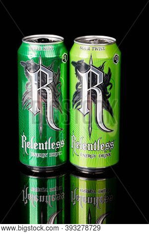 London, United Kingdom, 14th October 2020:- Cans Or Relentless Apple Kiwi & Sour Twist Energy Drinks