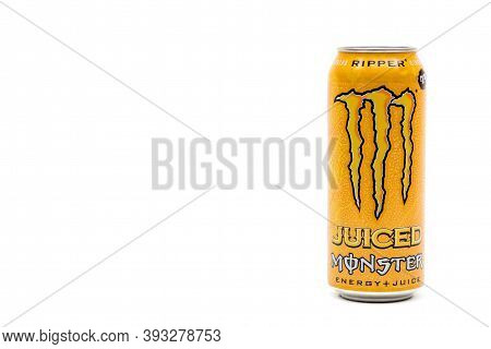 London, United Kingdom, 14th October 2020:- A Can Of Monster Ripper Energy Drink Isolated On A White