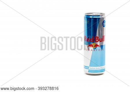 London, United Kingdom, 14th October 2020:- A Can Of Red Bull Sugar Free Energy Drink Isolated On A