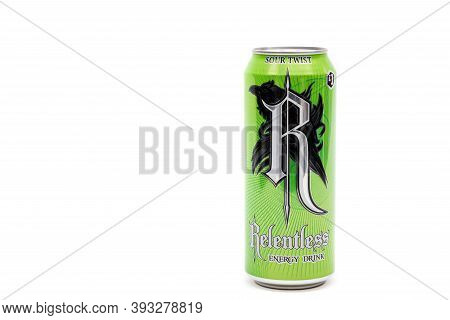 London, United Kingdom, 14th October 2020:- A Can Of Relentless Sour Twist Energy Drink Isolated On