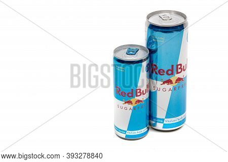 London, United Kingdom, 14th October 2020:- A Large And Small Can Of Red Bull Sugar Free Energy Drin