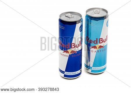 London, United Kingdom, 14th October 2020:- A Can Of Red Bull And Sugar Free Red Bull Energy Drink I