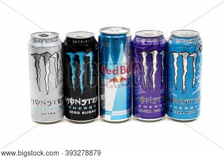 London, United Kingdom, 14th October 2020:-  Cans Of Sugar Free Monster & Red Bull Energy Drinks Iso