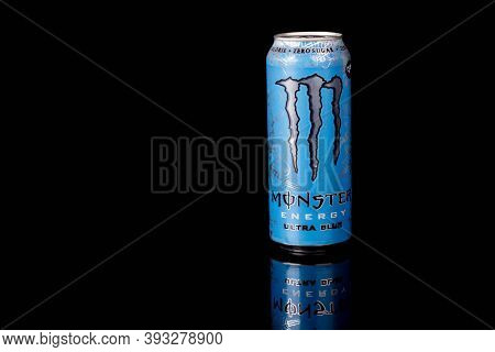 London, United Kingdom, 14th October 2020:- A Can Of Monster Ultra Blue Zero Sugar Energy Drink Isol