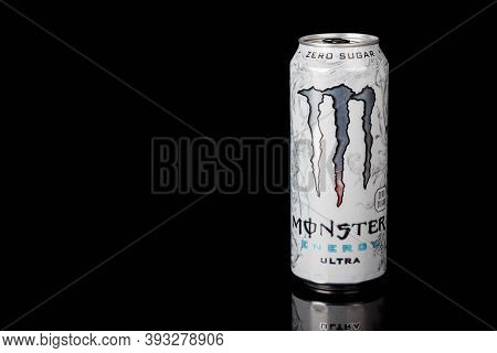 London, United Kingdom, 14th October 2020:- A Can Of Monster Zero Sugar Ultra Energy Drink Isolated