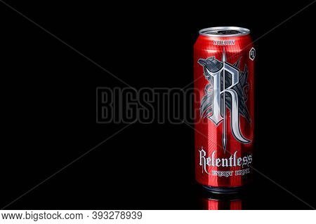 London, United Kingdom, 14th October 2020:- A Can Of Cherry Relentless Energy Drink Isolated On A Bl