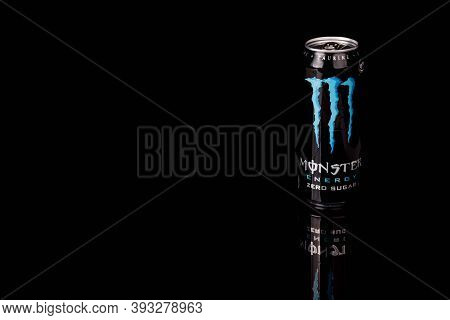 London, United Kingdom, 14th October 2020:- A Can Of Monster Zero Sugar Energy Drink Isolated On A B