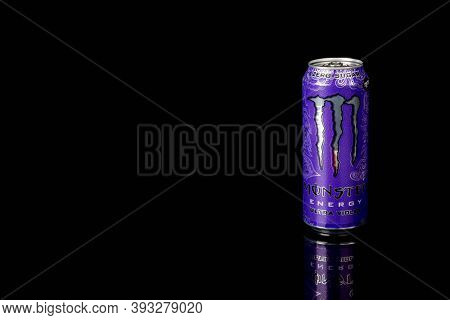 London, United Kingdom, 14th October 2020:- A Can Of Monster Zero Sugar Ultra Violet Energy Drink Is