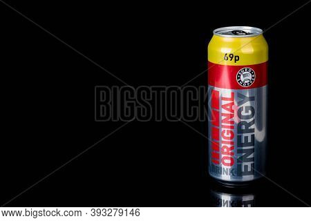 London, United Kingdom, 14th October 2020:- A Can Of Original Energy Drink Isolated On A Black Backg
