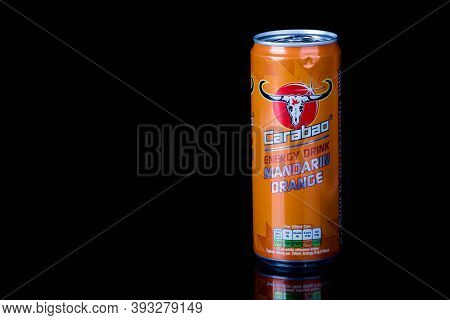London, United Kingdom, 14th October 2020:- A Can Of Carabao Mandarin Orange Energy Drink Isolated O