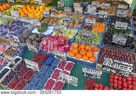 Vienna, Austria - July 11, 2015: Fresh Fruits And Vegetables Famous Naschmarkt Farmers Market In Wie