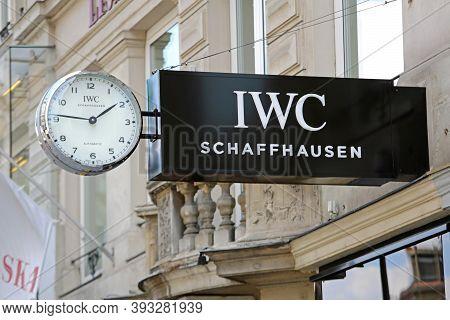 Vienna, Austria - July 12, 2015: Big Iwc Schaffhausen Clock At Graben Street Shop In Wien, Austria.