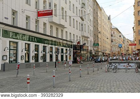 Vienna, Austria - July 12, 2015: Famous Plachutta Restaurant And Kabarett Simpl At Wollzeile Street