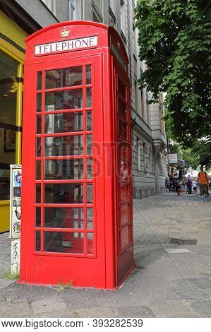 Vienna, Austria - July 12, 2015: Famous Iconic British Red Phone Booth Cabin In Wien, Austria.