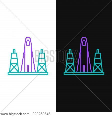 Line Rocket Launch From The Spaceport Icon Isolated On White And Black Background. Launch Rocket In