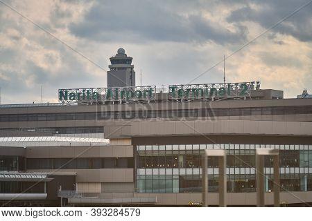 Narita, Japan - Feb 03, 2020: The Area Of The Narita Airport In Tokyo. Plane Parking At Narita Airpo