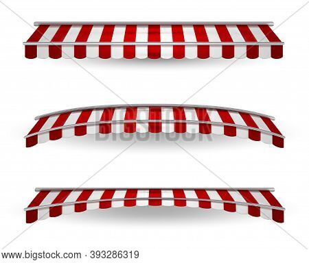 Colored Striped Awnings For Shops, Restaurants And Market Shops In Various Shapes. Vector Illustrati