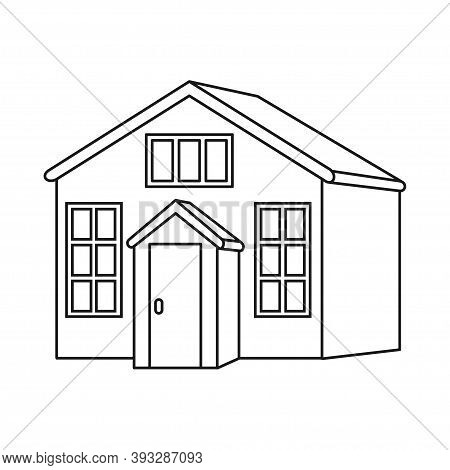Line Art Black And White Town House With Attic. Suburban Loft Home Ready To Rent. Vector Illustratio