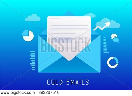 Cold Emails Flat Vector Illustration. Unsolicited Unwanted E-mail That Is Sent To A Receiver Without