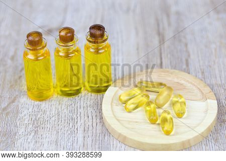 Hemp Oil Products In Small Bottles Placed Together Cbd Hemp Oil Extracted From Fresh Hemp Extract. T