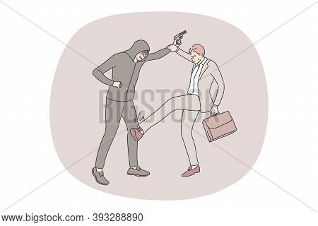 Robbery, Crime, Business Concept. Young Businessman Clerk Manager With Suitcase Kicking Leg Fighting