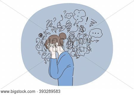 Headache, Depression, Anxiety Concept. Vector Illustration. Crying Woman Suffering Fatigue From Frus