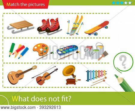 Logic Puzzle For Kids. What Does Not Fit? Winter Active Recreation. Paints. Musical Instruments. Mat