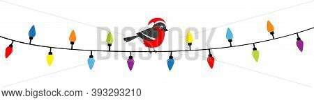 Bullfinch Bird In Red Santa Hat. Lightbulb Glowing Garland. Christmas Lights. Colorful String Fairy