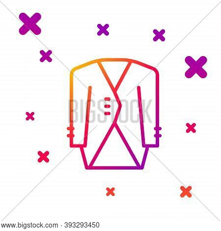 Color Line Suit Icon Isolated On White Background. Tuxedo. Wedding Suits With Necktie. Gradient Rand