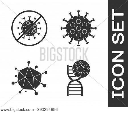 Set Dna Symbol And Virus, Stop Virus, Virus And Virus Icon. Vector