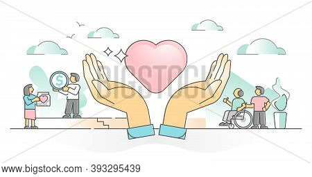 Charity Support And Money Donation For Social Elderly Care Outline Concept. Humanity And Solidarity