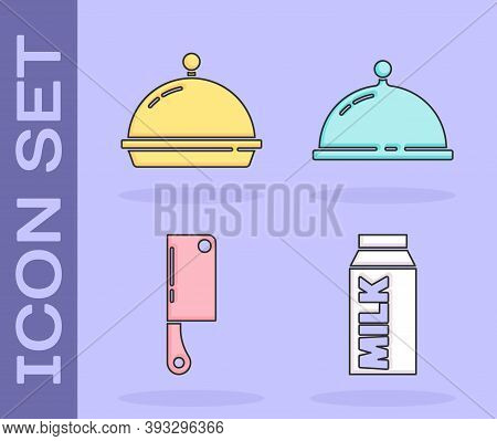Set Paper Package For Milk, Covered With Tray Of Food, Meat Chopper And Covered With Tray Of Food Ic