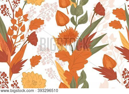 Colorful Autumn Seamless Pattern In Cute Cartoon Style. Warm Atmosphere Botany Elements On White Bac