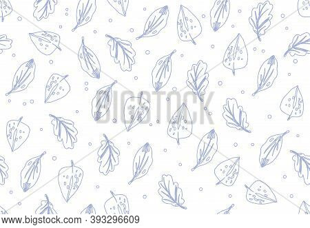 Simple Contour Autumn Pattern In Blue On White Background. Doodle Cartoon Style.