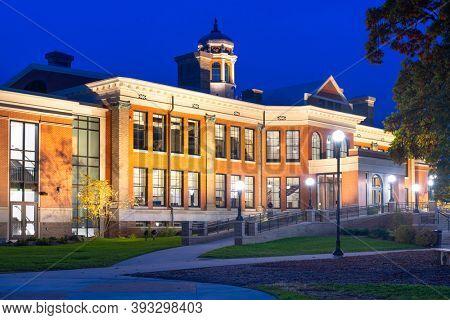 KALAMAZOO, MICHIGAN - OCTOBER 26, 2018: Historic East Campus at Western Michigan University during twilight.