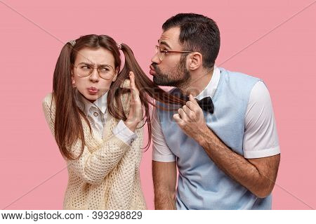 Annoyed Displeased Schoolgirl Shows No Sign, Refuses Recieving Kiss From Classmate Wonk, Has Two Pon