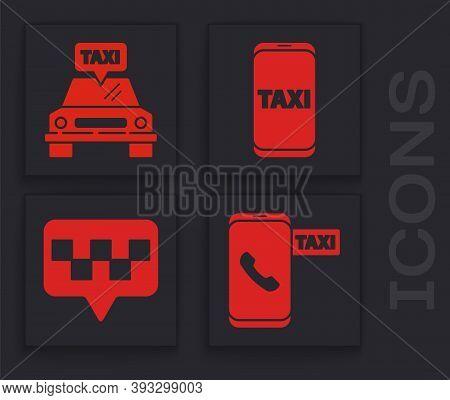 Set Taxi Call Telephone Service, Taxi Car, Taxi Call Telephone Service And Map Pointer With Taxi Ico