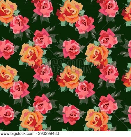 Seamless Pattern In Bright Colors With Flowers Of Roses, Wallpaper Ornament, Wrapping Paper